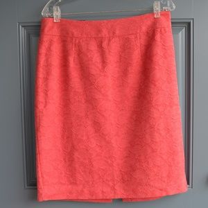 Coral Embossed Floral Skirt by Banana Republic